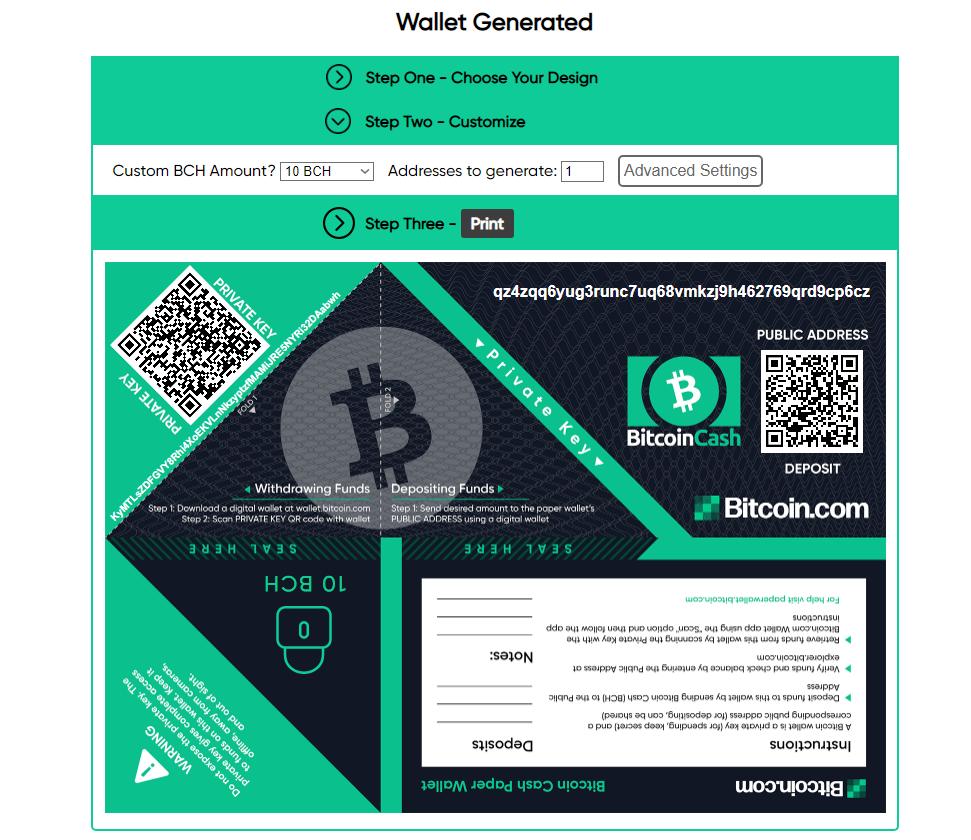 Bitcoin.com Paper Wallet